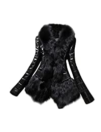 HGWXX7 Women's Warm Fur Collar Coat Faux Leather Overcoat Parka Thick Jackets