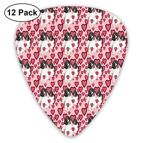 MEILVWEN Hearts and Landseer Newfoundland Dogs Guitar Picks Gift Set(16 Pack Includes Thin Medium Heavy) for Electric Classic Bass and Acoustic Guitars