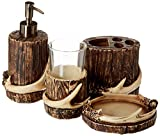 HiEnd Accents 4 PC Antler Bath Set - Tumbler, Soap Dispenser, Toothbrush Holder & Soap Dish