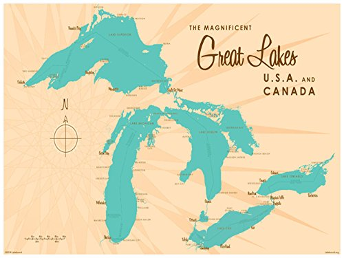 Great Lakes Map Vintage-Style Art Print by Lakebound (18