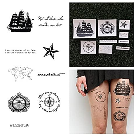 5fe57f2b7 Amazon.com : Tattify Nautical Themed Temporary Tattoos - Set Sail (Complete  Set of 16 Tattoos - 2 of each Style) - Individual Styles Available -  Fashionable ...