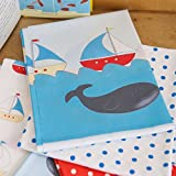 Designer 100% Cotton Quilting Fabric Fat Quarter Bundle - Sailing Boats & Whales - Designed & Printed in the UK