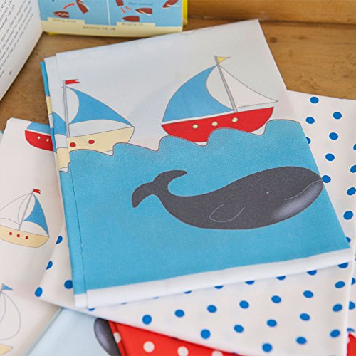 Designer 100% Cotton Quilting Fabric Fat Quarter Bundle - Sailing Boats & Whales - Designed & Printed in the UK by Izabela Peters