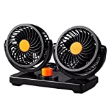 Willcomes 24 Dual Head Car Auto Cooling Air Fan 360 Degree Rotation Powerful Quiet 2 Speed Adjustable Strong Wind Auto Cooling Air Fan with Kids Safe Design