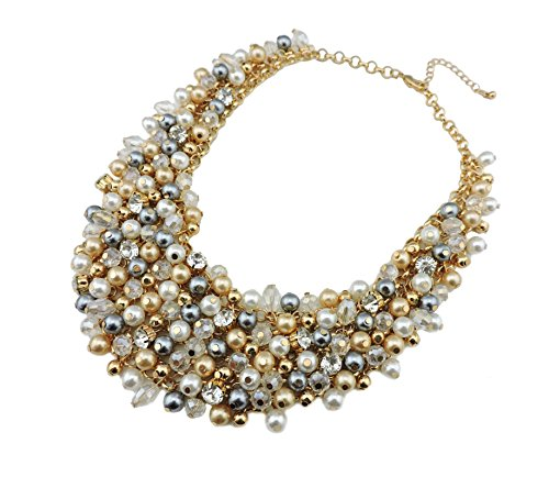 (Bocar Fashion Gold Tone Big Faux Pearl Crystal Chunky Collar Statement Necklace for Women Gift)