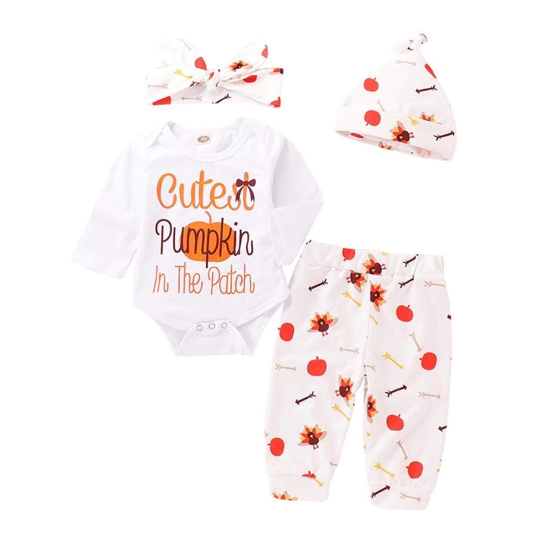 KaiCran Baby Bodysuit Sets,4Pcs Newborn Baby Boys Girls Long Sleeve Pumpkin Turkey Romper and Pants Outfits Clothes Set