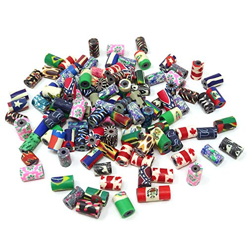 yueton 100pcs Assorted Colors 10×7mm Tube Shape Polymer Clay Beads