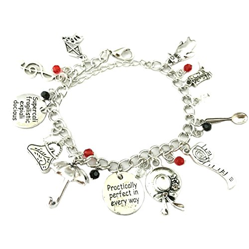 (Athena Brands Mary Poppins Emily Blount Charm Bracelet Quality Cosplay Jewelry Disney Movie Book Series with Gift)
