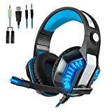 Beexcellent GM-2 Pro Gaming Over-Ear Headset with Mic, LED Lights and Volume Control Stereo Bass, Noise Cancelling, 3.5mm,Wired PC Headset for PS4 Xbox One, Laptop, PC, Tablet (Black Blue)