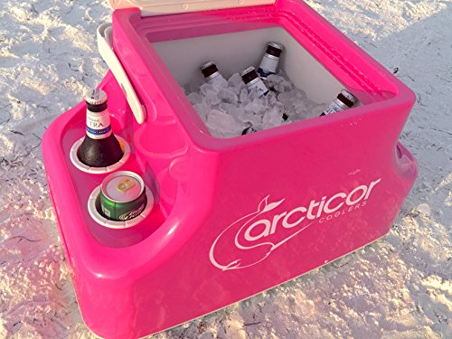 Arcticor Cooler with Patented Ice-Chilled Beverage Holders - PINK