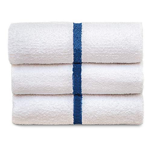 Blue Center Stripe White - Soft Plush Gym Bath Hotel & Pool Towel - Fade Resistant - Durable - White - (22 x 44) - 120 Piece Wholesale Pack
