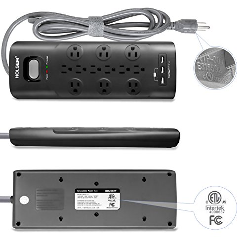 HOLSEM 12 Outlets Surge Protector Power Strip with 3 Smart USB Charging Ports (5V/3.1A) and 6' Heavy Duty Extension Cord, Black by HOLSEM (Image #5)