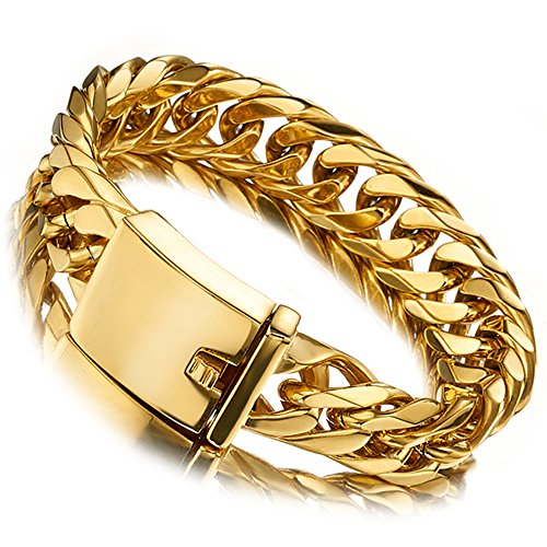 Jxlepe Miami Cuban Link Chain Bracelet 18K Gold 16mm Big Stainless Steel Curb Bangle for Men (7.5) Curb Mens Gold Bracelet