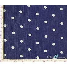 """Navy and Off White Small Polka Dot Print Sheer Yoryu Chiffon Fabric Polyester 57-58"""""""