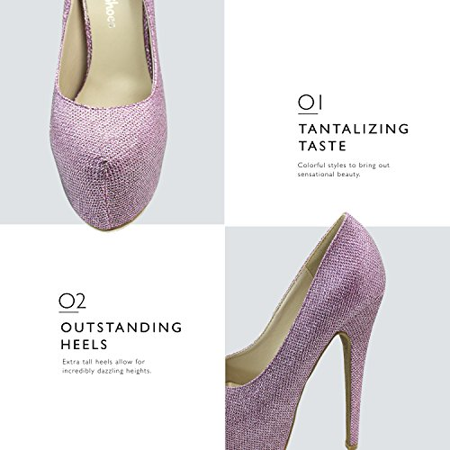 Toe Shoes Pump Glitter Heel Women's Sexy Pointed Hidden High Platform Extreme High Pink Stiletto Fashion PIIw7U1