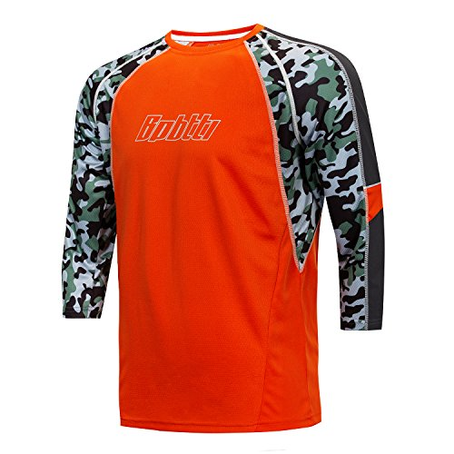 Bpbtti Men's MTB BMX Mountain Bike Shirt 3/4 Sleeve Biking Cycling Jersey - Moisture-Wicking and Breathable (Large, Orange)