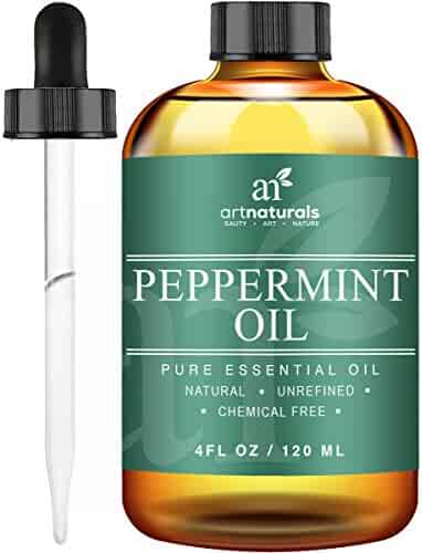 Art Naturals Peppermint Oil 100% Pure and Natural Premium Therapeutic Grade Mentha Peperita Essential 4 Oz Oil - Best Fresh Scent for Home and Work - Perfect to Repel Mice and Spiders