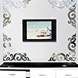 1Set Acrylic Mirror Wall Stickers,Diagonal Corner Line Home Decoration 11.8 x 11.8