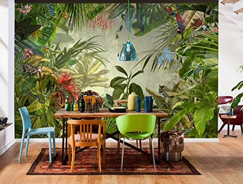 Wallpaper 3D Tropical Rainforest Animal Plant Natural Oil Painting Custom Large Mural 3D Effect Living Room Bedroom Wall Murals,300cmX210cm