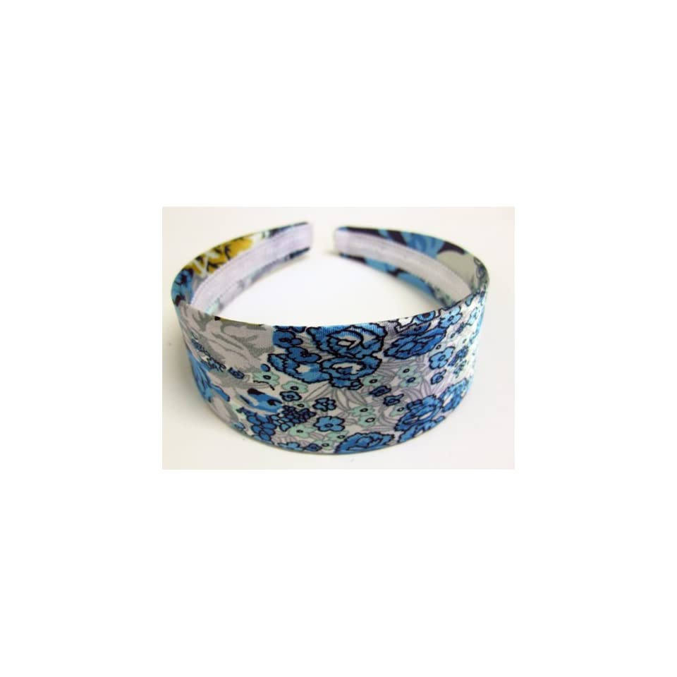 1.75 Blue Flowers Satin Wide Headband For Girls And Women One Size Fits All