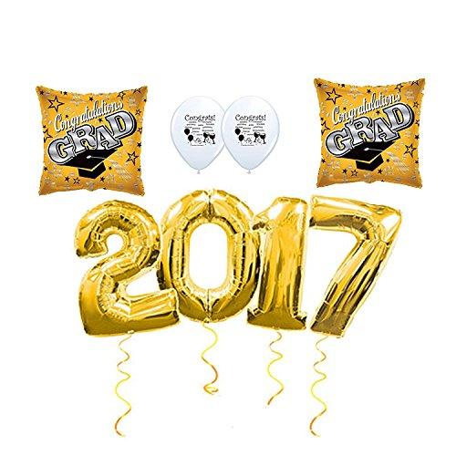 [2017 Graduation Gold and Black Balloon and Confetti Set] (College Costume Ideas 2017)