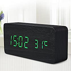 Quality Digital Led Alarm Clock Sound Control Wooden Despertador Desktop Clock Usb/Aaa Powered Temperature Display^Green.