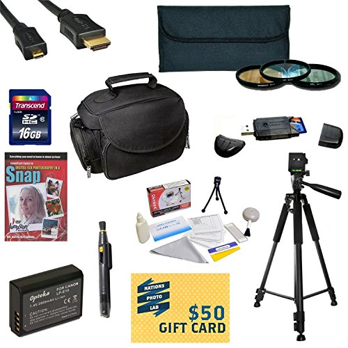 47th Street Photo Best Value Accessory Kit For the Canon 1100D, Rebel T3 - Kit Includes 16GB High-Speed SDHC Card + Card Reader + Extra Battery + Travel Charger + 58MM 3 Piece Pro Filter Kit (UV, CPL, FLD Lens) + HDMI Cable + Padded Gadget Bag + Professio by 47th Street Photo