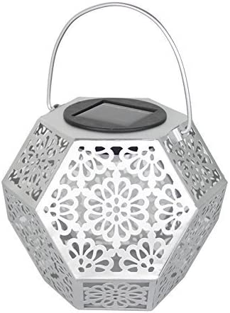 Whitelotous LED Solar Lantern Lights Outdoor Flower Pattern Waterproof Garden Lights Hanging Decoration and Indoor Ambiance Decoration Silver