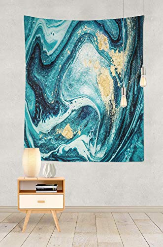 Soopat Tapestry Polyester Fabric Ocean Art Natural Luxury Swirls Marble Ripples Blue Gold Powder Liquid Flow Wall Hanging Tapestry Decorations for Bedroom Living Room Dorm 60X80 inch