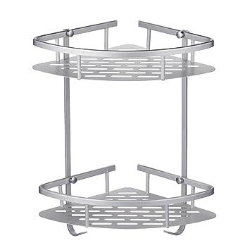 Estantes Para Ducha, 2 Tier Aleación de Aluminio Rinconera Estante Accesorios de Baño, 36 x 22 x 29 cm