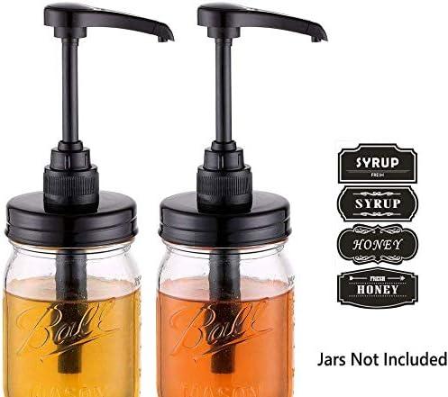 Elwiya Mason Jar Syrup & Honey Dispenser Pump Lids
