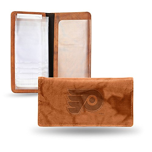 NHL Philadelphia Flyers Embossed Genuine Leather Checkbook Cover (Rico Leather Philadelphia Flyers Wallet)