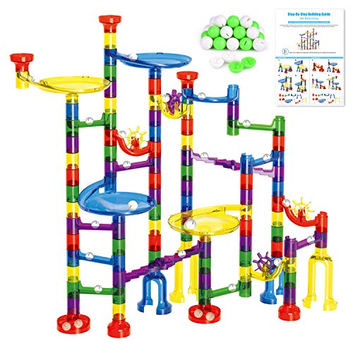 FUN LITTLE TOYS Kids Marble Run Set-154Pcs (90Translucent Pieces + 64Marbles) for Marble Race Track Game, Family Game]()