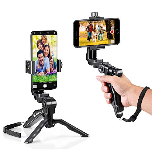 Zeadio Ergonomic Swivel Smartphone Handheld Grip Stabilizer Tripod Selfie Stick Handle Steadycam Kits, Fits iPhone Samsung Huawei Sony LG Nexus Nokia and All Phones