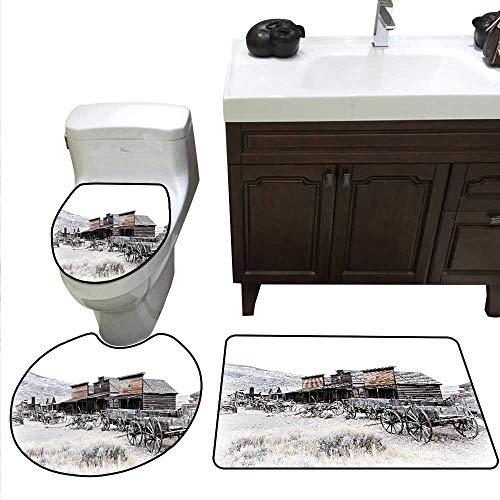 Western Bath mat Set with Toilet Cover Old Wooden Wagons from 20s in Ghost Town Antique Wyoming Wheels Artwork Print Toilet Carpet Floor mat Set Brown White]()