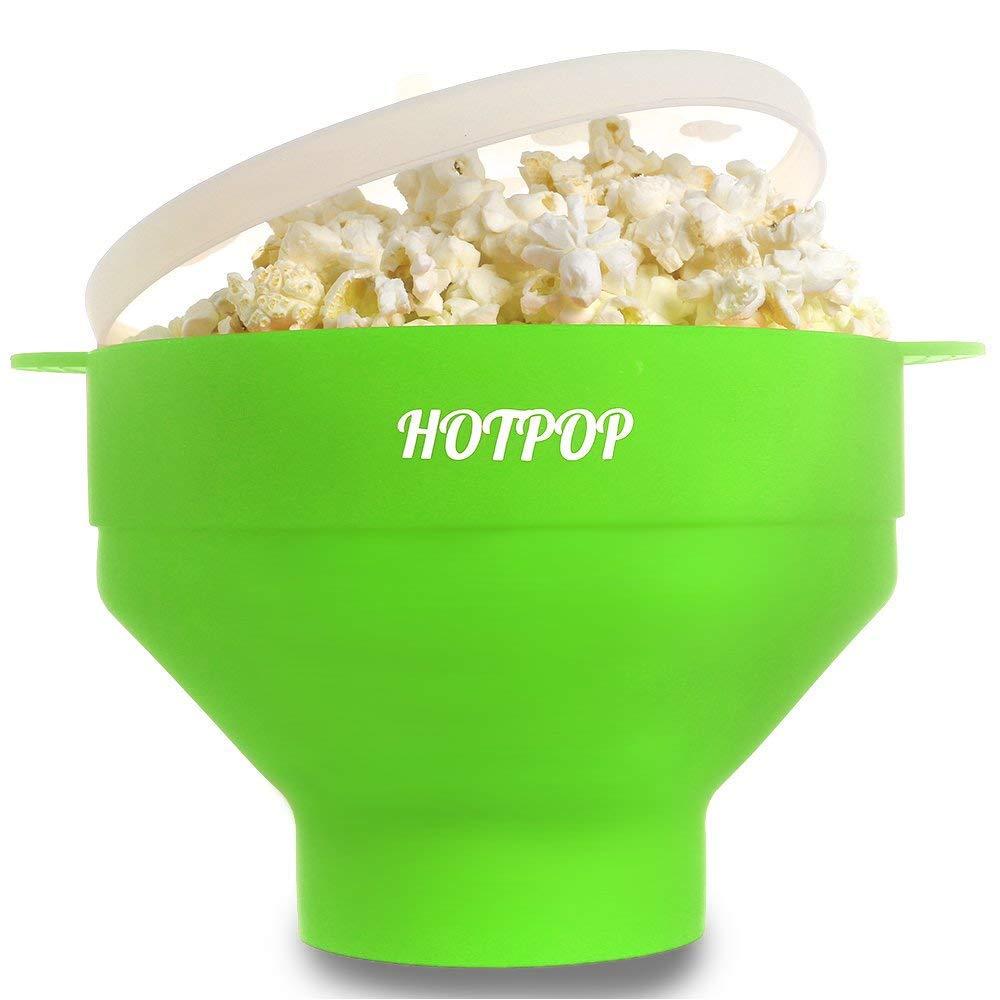 The Original HOTPOP Microwave Popcorn Popper, Silicone Popcorn Maker, Collapsible Bowl BPA Free & Dishwasher Safe (Green)