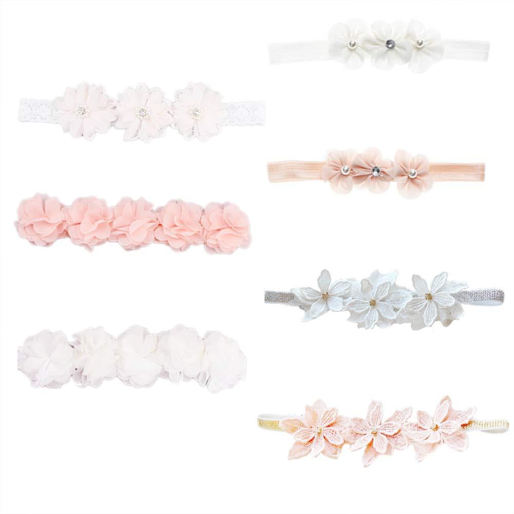 Baby Toddler Elastic Chiffon Flower Headbands Princess Girls Hand Sewing Beads Flower Headwear Nylon 7 piece (QJ318)