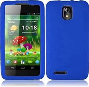 ZTE Engage LT N8000 ( Cricket ) Phone Case Accessory Cool Blue Soft Silicone Rubber Skin Cover with Free Gift Aplus Pouch