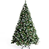 CHICHIC Christmas Tree 7 ft Premium Artificial Tree 1100 Branch Tips with 43 True Pine Cones & Snow & Solid Metal Legs Faux Xmas Tree Artificial Holiday Pine Full Tree for Christmas Decorations