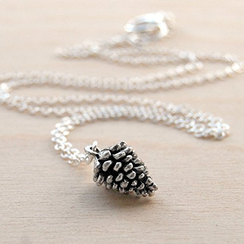 Enchanted Leaves - Tiny Silver Pine Cone Necklace - Cute Pinecone Charm Necklace