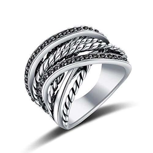 Platinum Cable Ring - Mytys Vintage Retro Black Marcasite Stone Pave Statement Ring Platinum Plated Interwined Cable Wire Rings for Men Women (7)