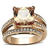 Women's Stainless Steel Rose Gold Princess Cut Champagne Zirconia Cocktail Ring