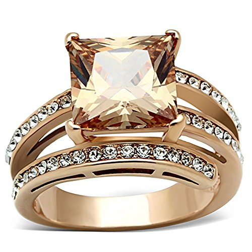 Women's Stainless Steel Rose Gold Princess Cut Champagne Zirconia Cocktail Ring Size ()