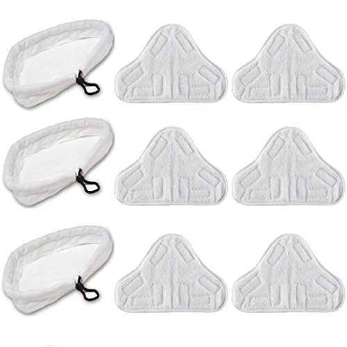(VacFit Steam Mop Pad Replacement for Steamboy H2O X5 Vax S2 Triangle Microfiber Cloth Pad Duster Washable Cleaning Pads Vacuum Cleaner Attachment White )