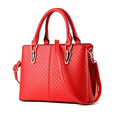 TcIFE Women Top Handle Satchel Handbags Tote Purse, Red