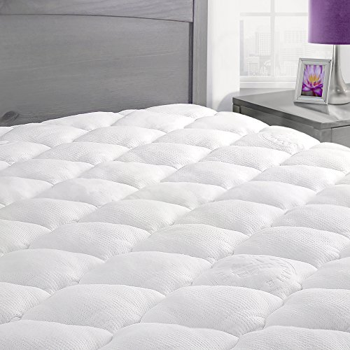 Rayon From Bamboo Mattress Pad with Fitted Skirt - Extra Plush Cooling Topper - Hypoallergenic - Made in the USA, King