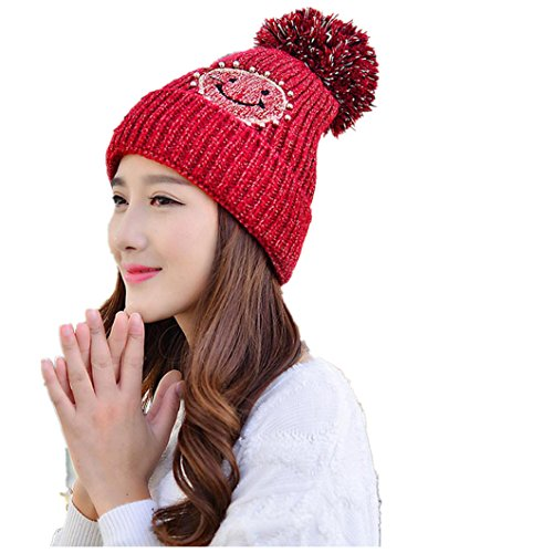 Winter Knit Baggy Hat Smile Star Pom Pom Womens Girls Cable Knitting Ski Beanie Caps (Red) (Big Star Visor)