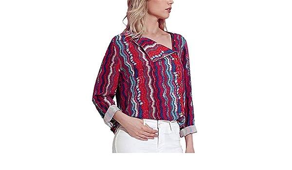 Mujer Camisas Lonshell De Las Mujeres Moda Otoño Impresión Manga Larga Camisa Cuello de Cobertura Blusa Tops Camiseta: Amazon.es: Ropa y accesorios