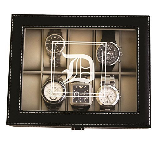 Customized Black Watch Storage Box with Initial - Groomsmen Wedding Father's Day Gift - Personalized Engraved and Monogrammed for Free