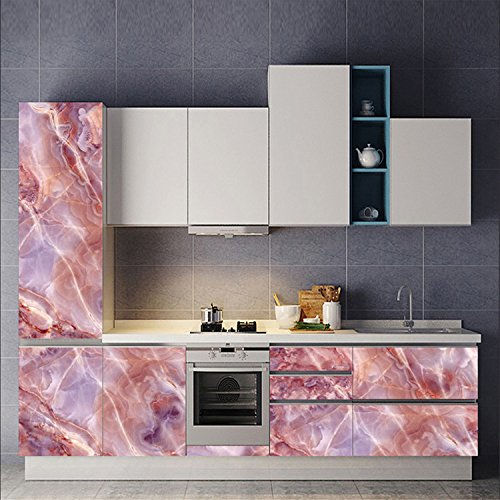 AMAZING WALL Pink Marble Sticker Wall Decor Contact Paper Film DIY Home Decoration Living Room Bedroom 23.62x70.87